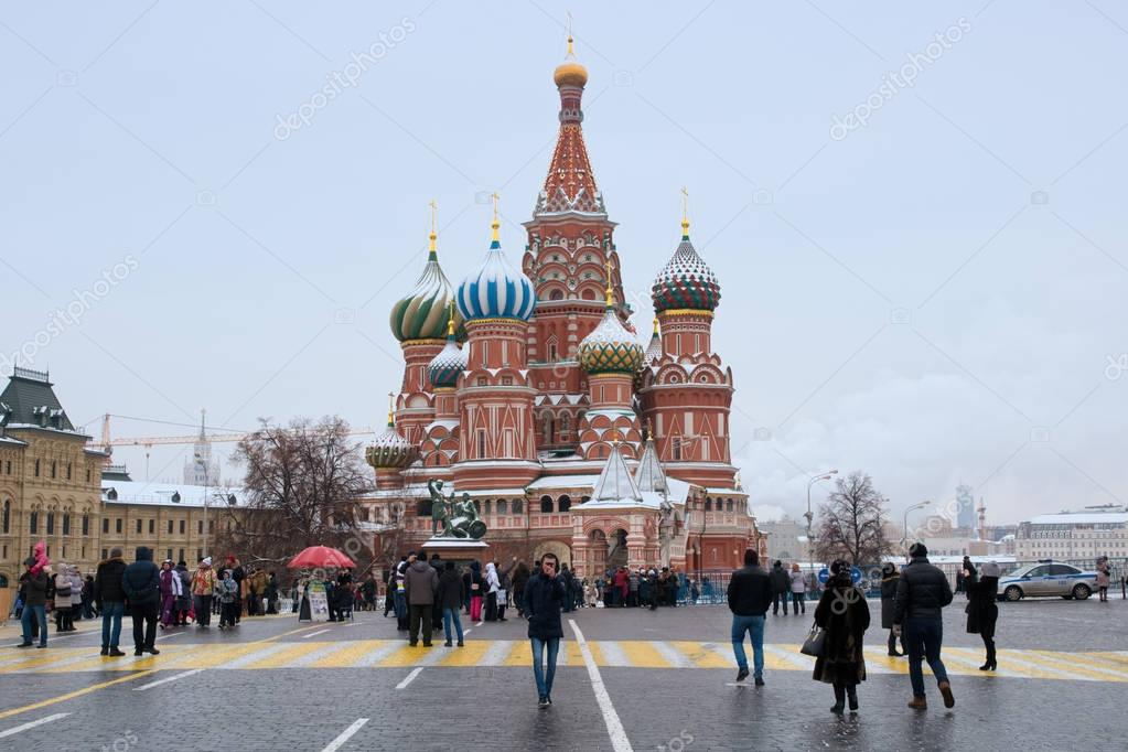 Peoples on the red square in front of St. Basil's Cathedral