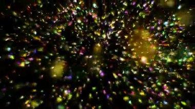 Padající konfety na černém pozadí
