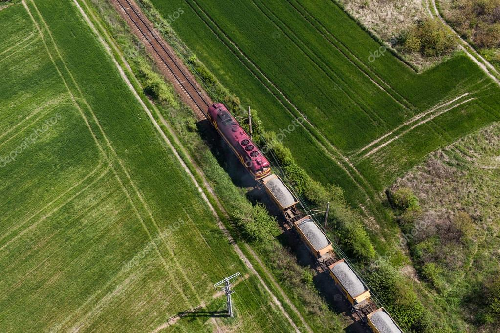 Aerial view of the train on the railway track