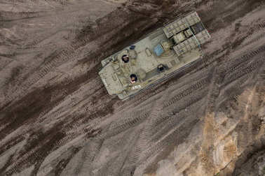 aerial view of the military transporter on the military training ground