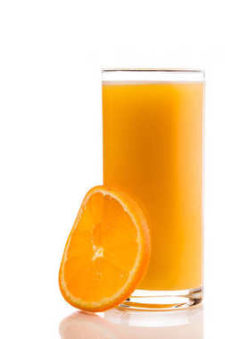 Glass of orange juice with orange slice near isolated on white background. stock vector