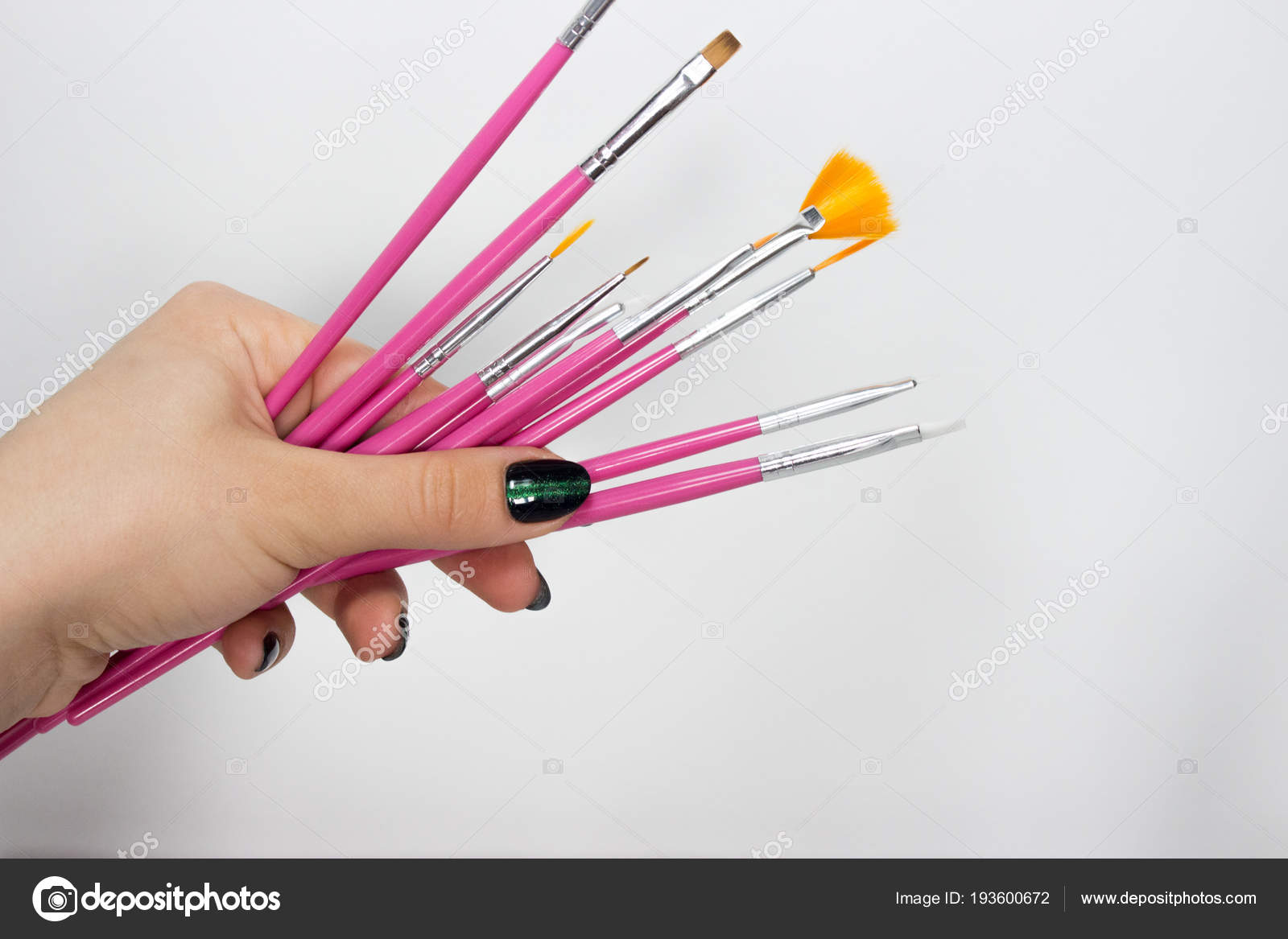 Nail Art Brushes White Background Manicure Art Stock Photo