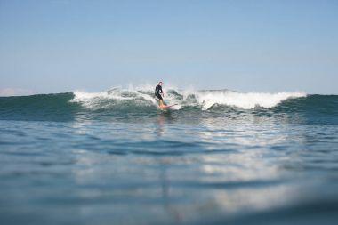Active man surfing wave on board in ocean stock vector