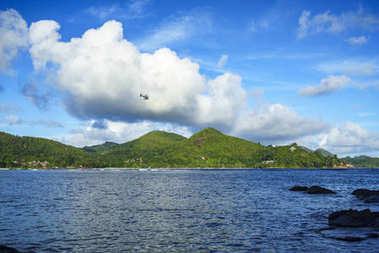 helicopter over the baie lazare, seychelles 1