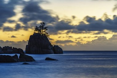 Mystic sunset over rock with single tree. seychelles 2