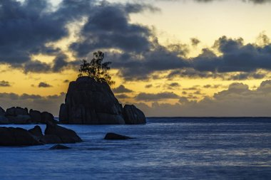 Mystic sunset over rock with single tree. seychelles 3