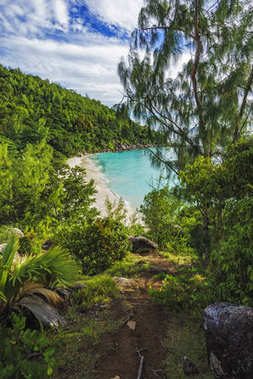 Panoramic overview to paradise beach anse georgette, praslin, se