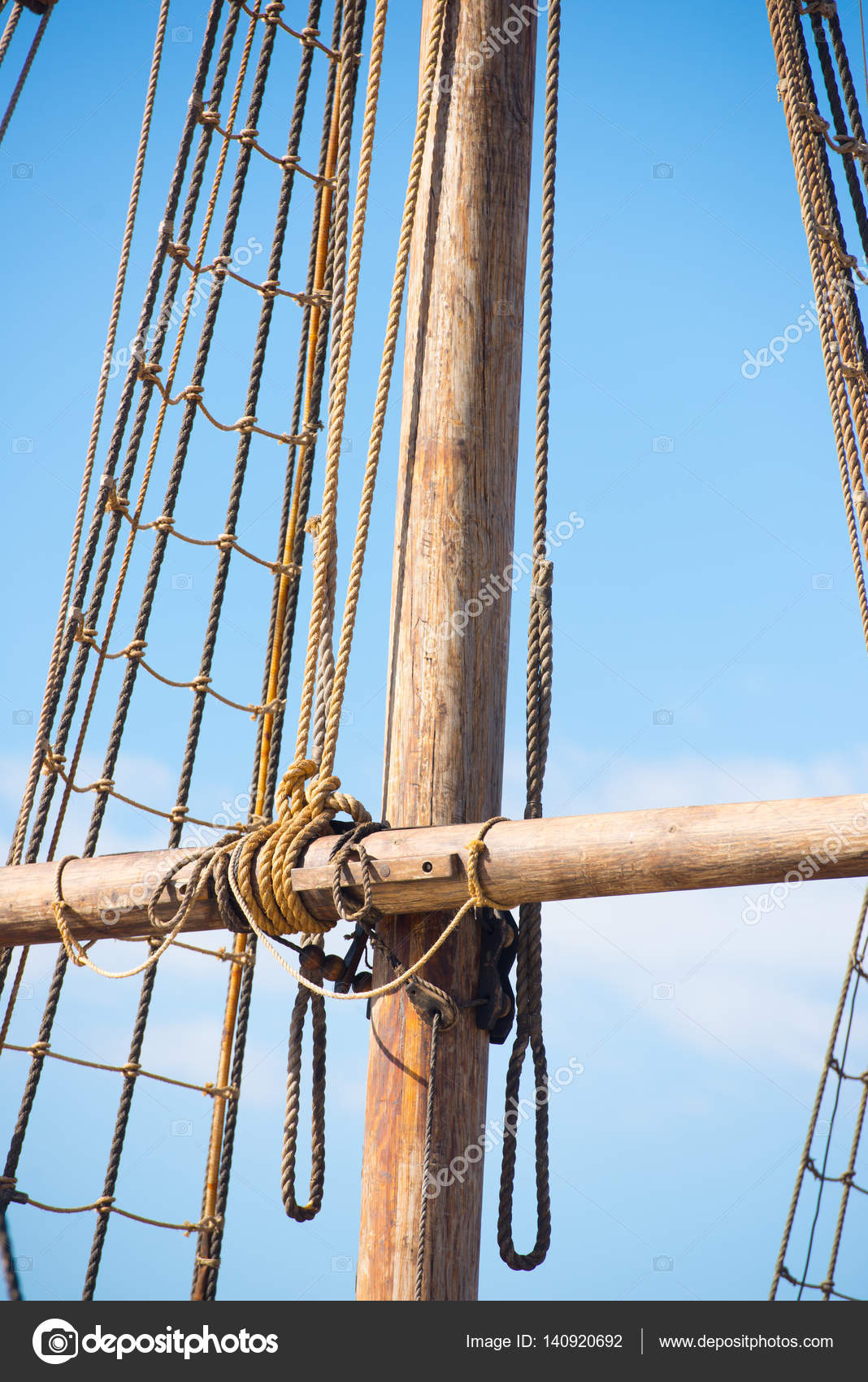 Mast, Rigging and Ropes of wooden sailing boat — Stock Photo ... for Rope Ladder Ship  174mzq