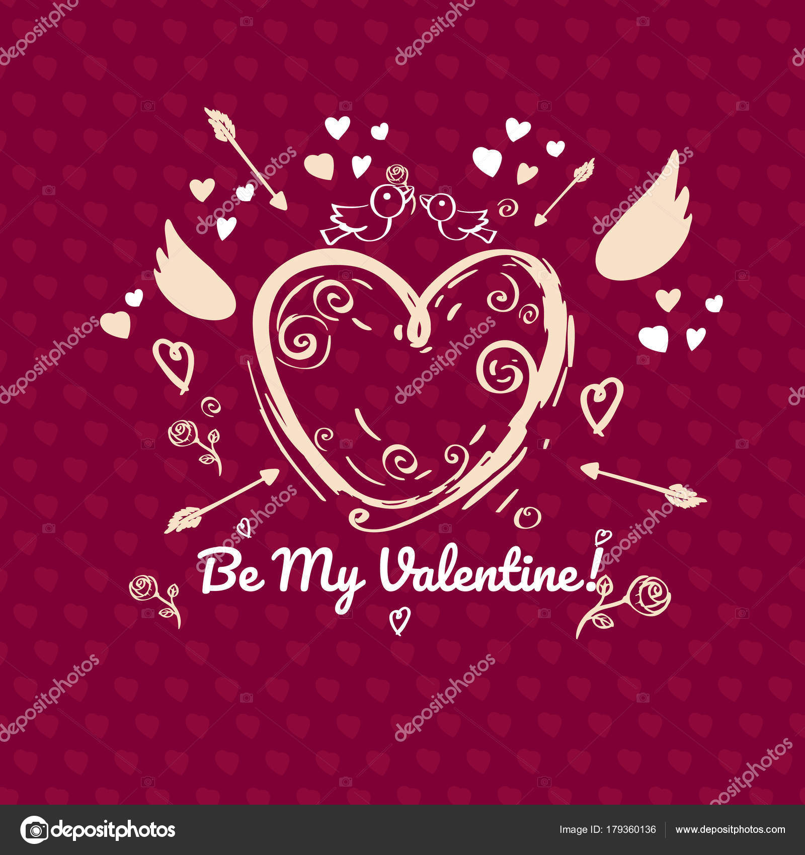 Greeting Card Design Valentines Day Red Version Single Sided