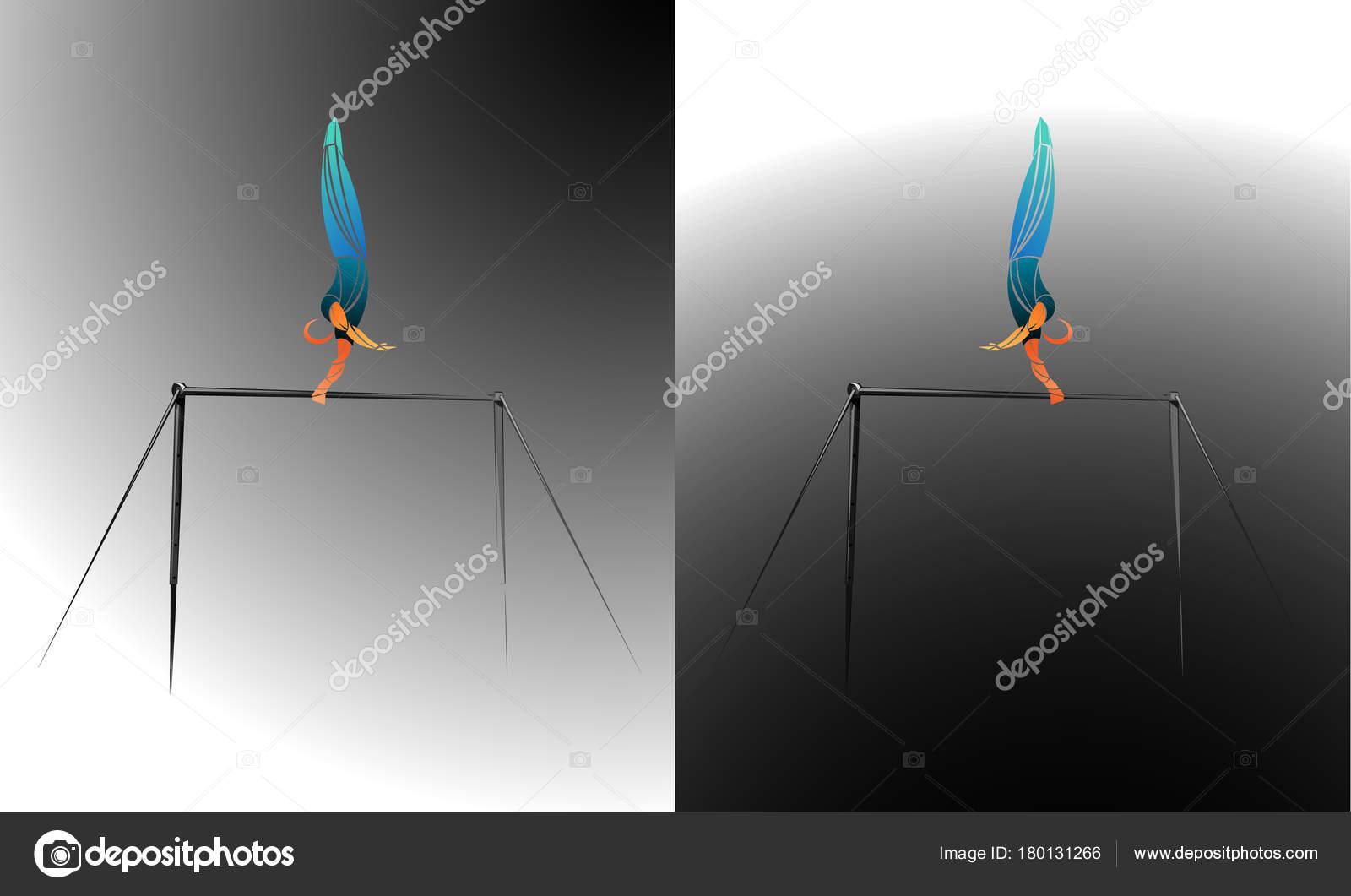 ginasta barras assimétricas em ginástica artística vetor de stock