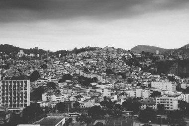 Black and white favela in Rio de Janeiro, Brazil