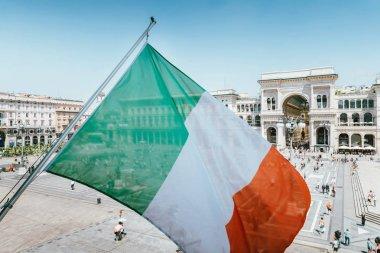 Vittorio Emanuele II monument in Milan, Italy with italian flag