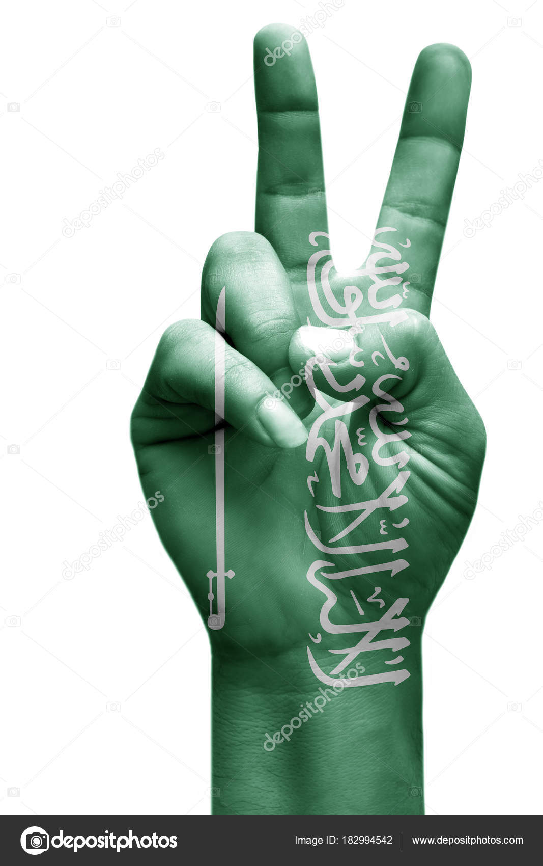 Making Victory Sign Saudi Arabia Painted Flag Symbol Victory Win