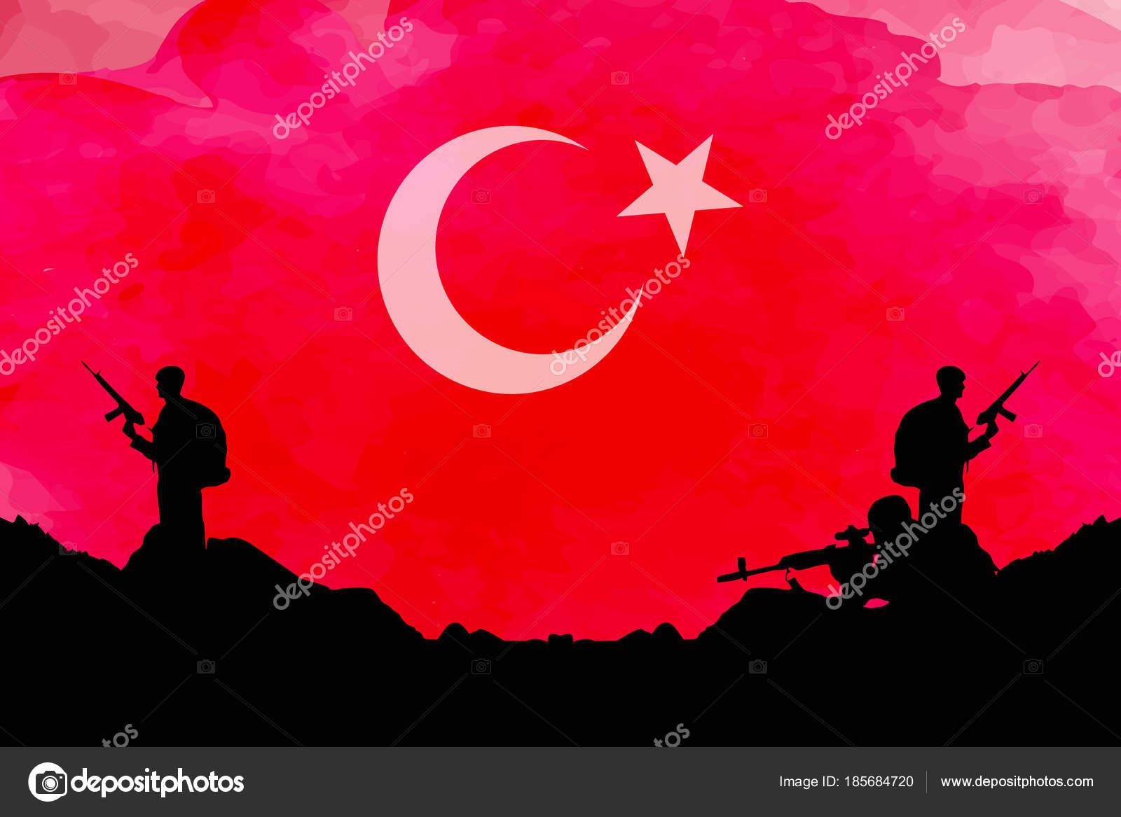 Turk Bayragi Ile Asker Siluette Stok Vektor C Ahmety34