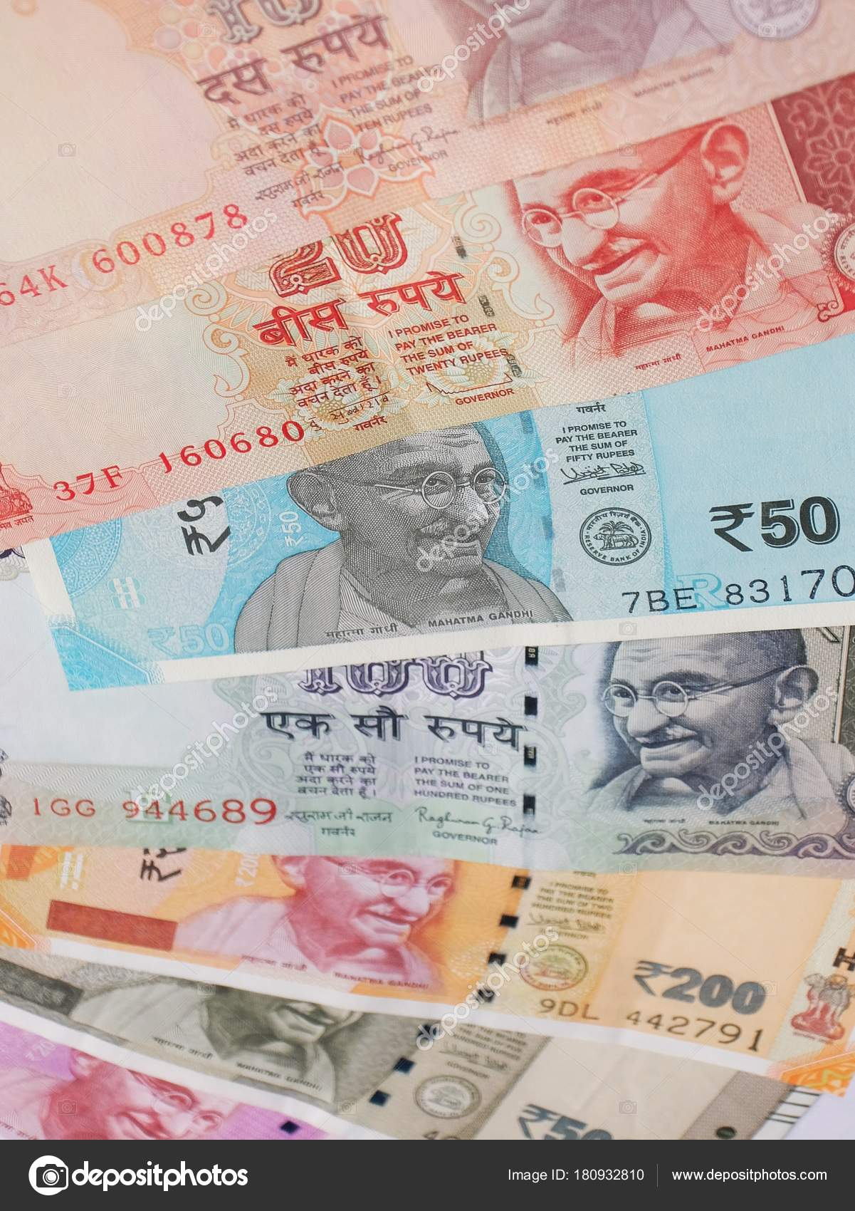 100 200 500 2000 Indian Rupees Old New Notes Stock Photo