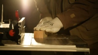 hand gouging the wooden board's on machine