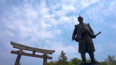 OSAKA, JAPAN - APRIL 29 : Statue of Toyotomi Hideyoshi a great samurai warrior at Hokoku shrine in Osaka castle park on April 29, 2017 in Osaka, Japan
