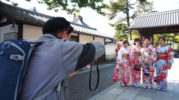 KYOTO, JAPAN - APRIL 29 : Tourist takes picture of japanese women with traditional Yukata and Kimono at Kiyomizu-Dera Buddhist temple on April 29, 2017 in Kyoto, Japan