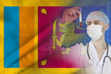 scientist, doctor does a blood test, develops a vaccine, medicine against the background of the silk flag of France, concept of vaccination against SARS virus, coronavirus, COVID-19, flu, infection