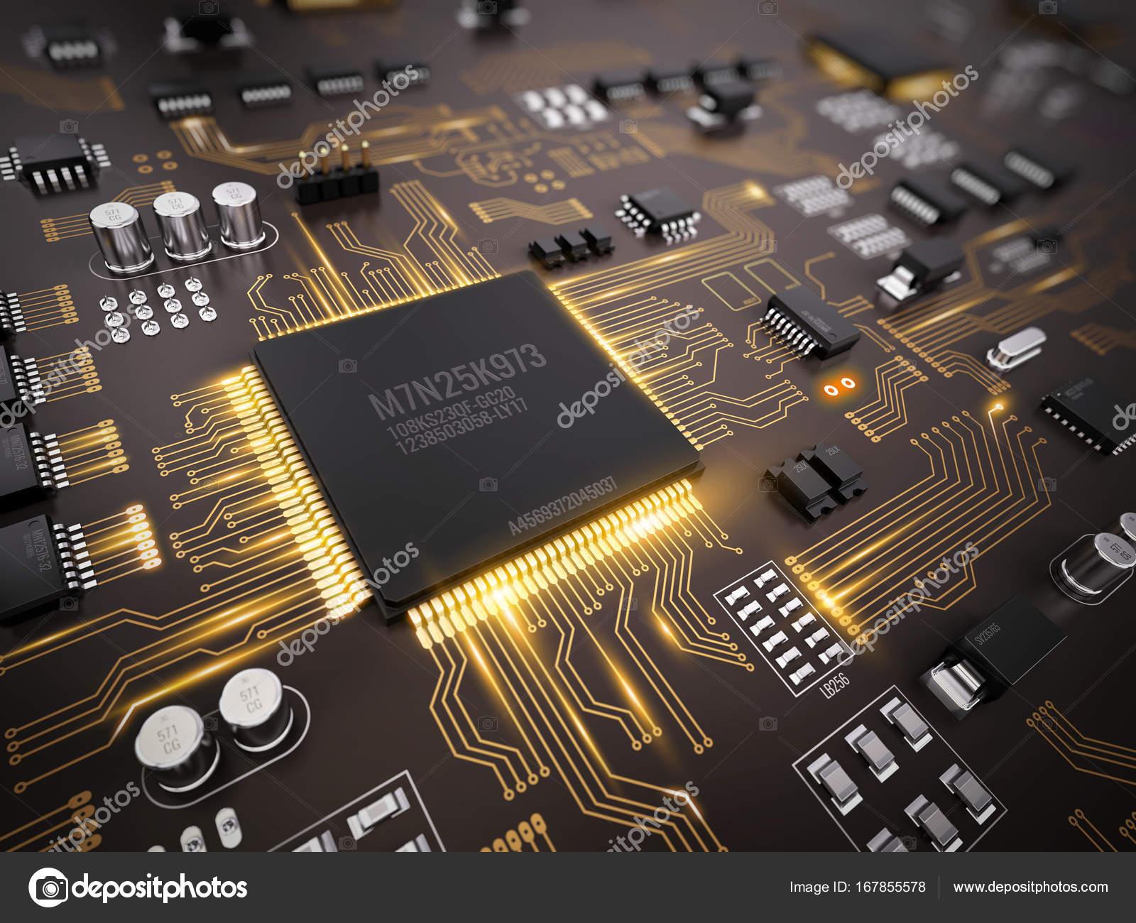 High Tech Elektronische Pcb Printed Circuit Board Mit Prozessor Mikrochips Und Glhende Digital Signale 3d Illustration Foto Von