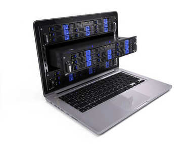 Computer rack servers in laptop screen