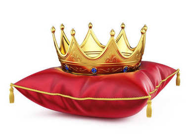 Royal gold crown on red pillow isolated on white. 3d rendering