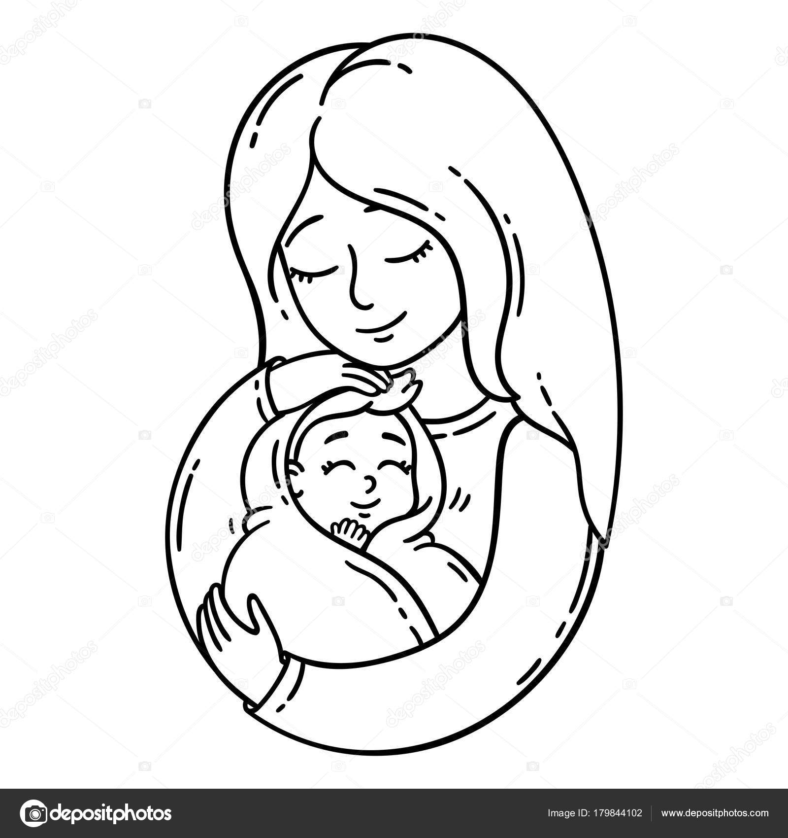 Mother Holding Baby Isolated Objects White Background ...