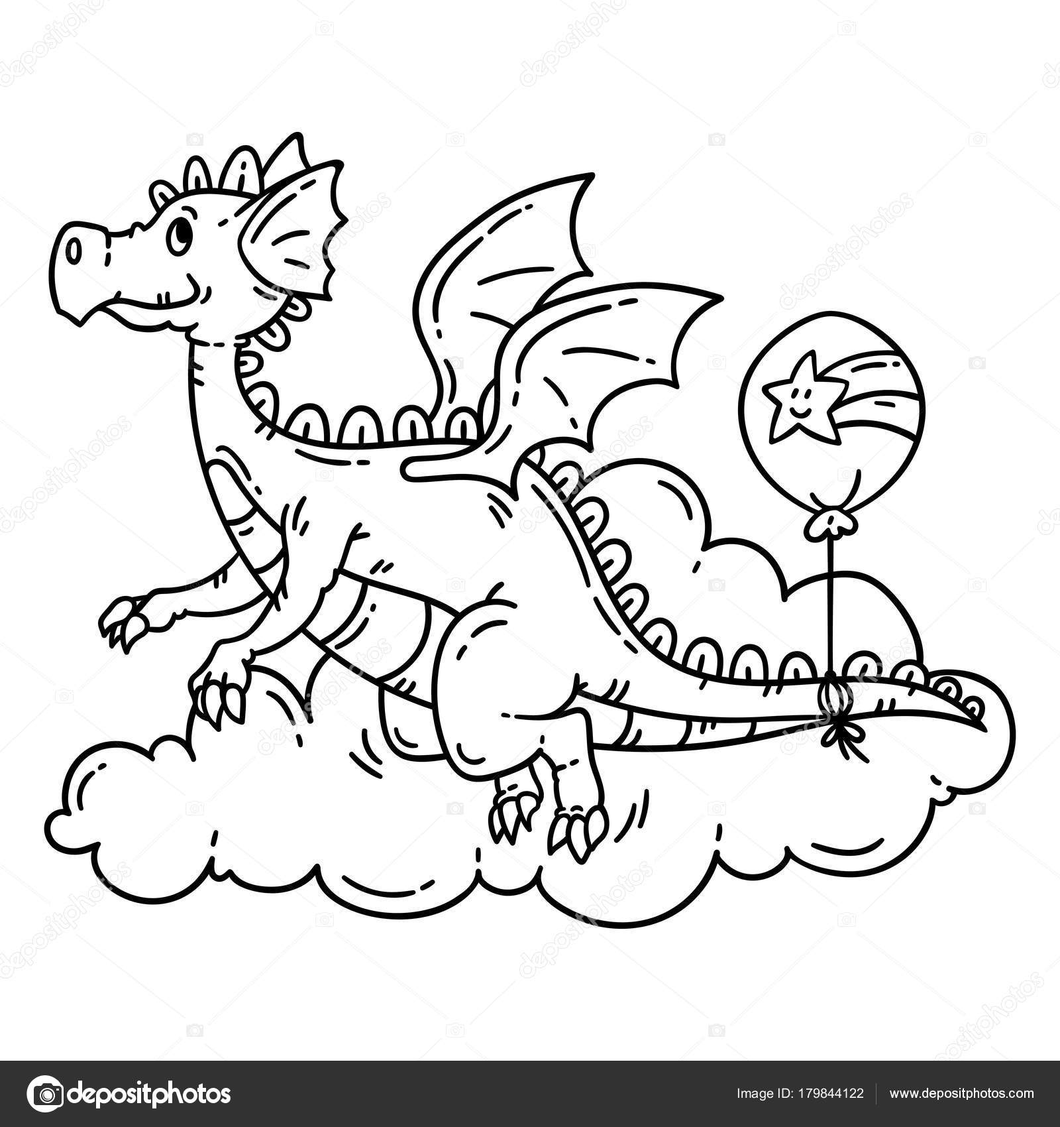 Dragón Volador Dibujos Animados Lindo Objetos Aislados Sobre Fondo ...