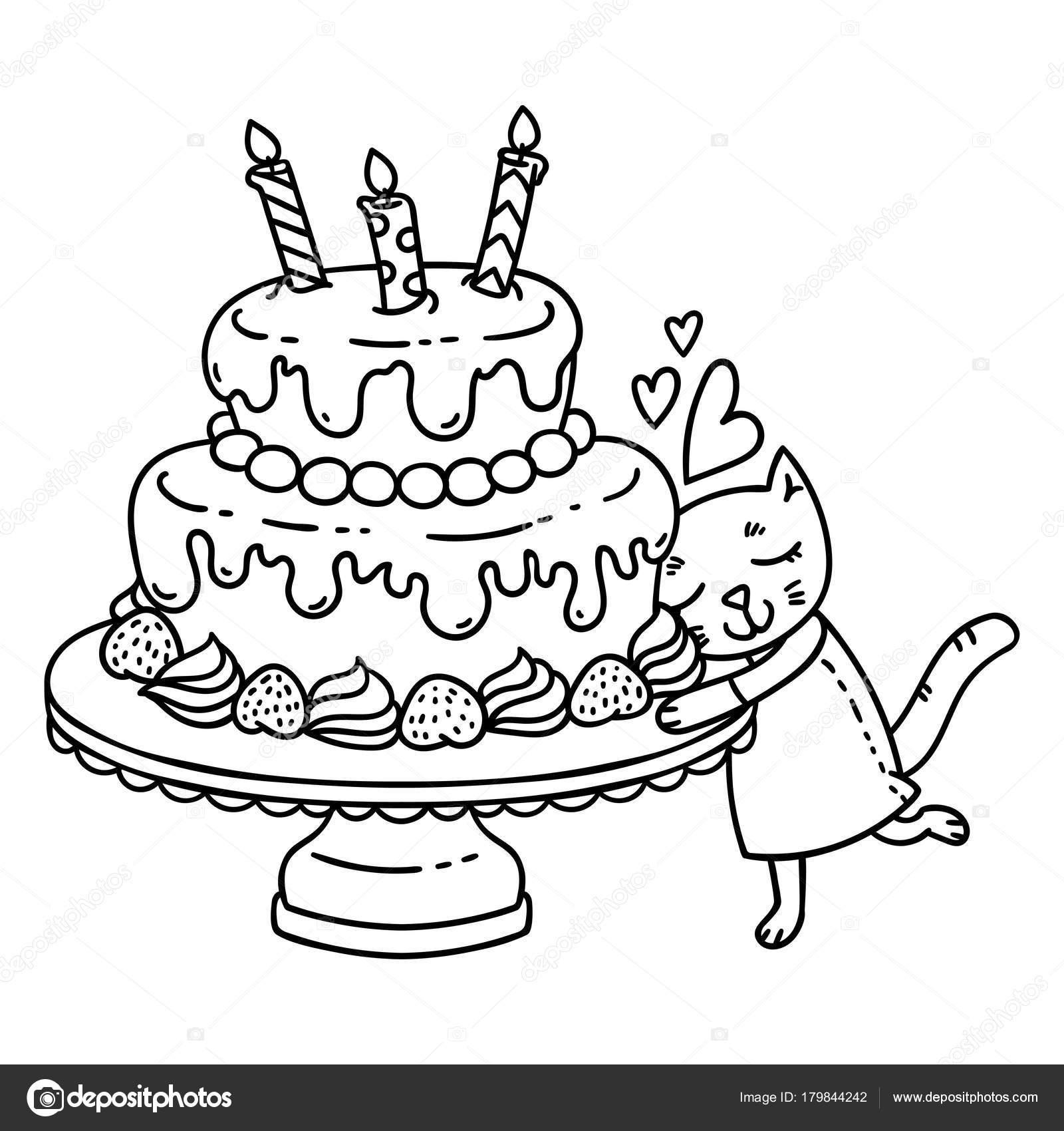 Pastel Cumpleaños Con Vela Lindo Gato Objetos Aislados Sobre Fondo ...