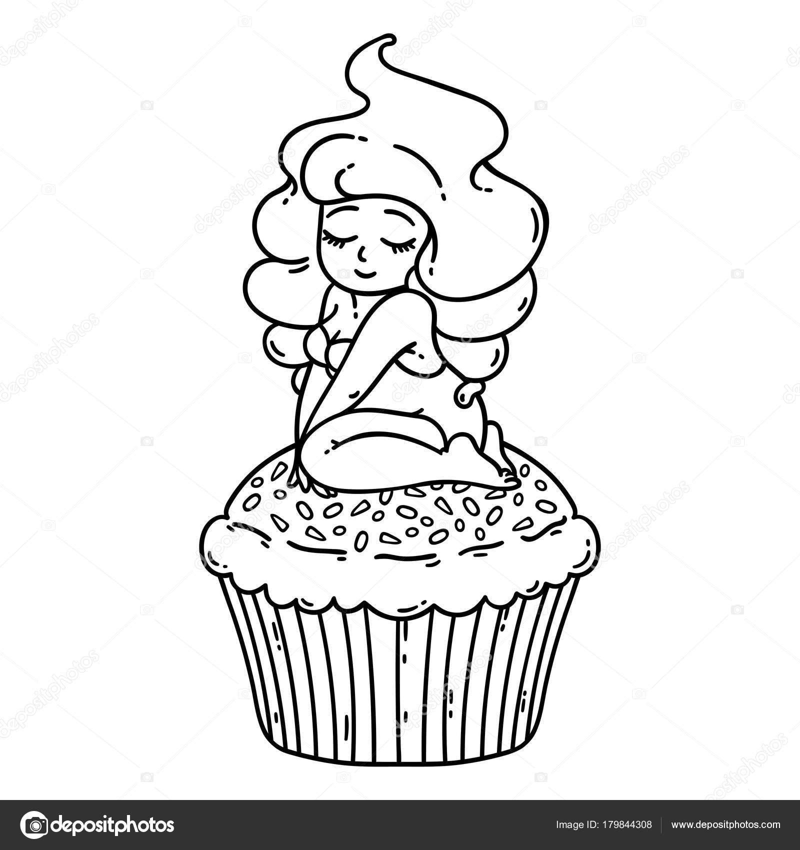 Hadas Cupcake Crema Linda Chica Magdalena Objetos Aislados Sobre ...
