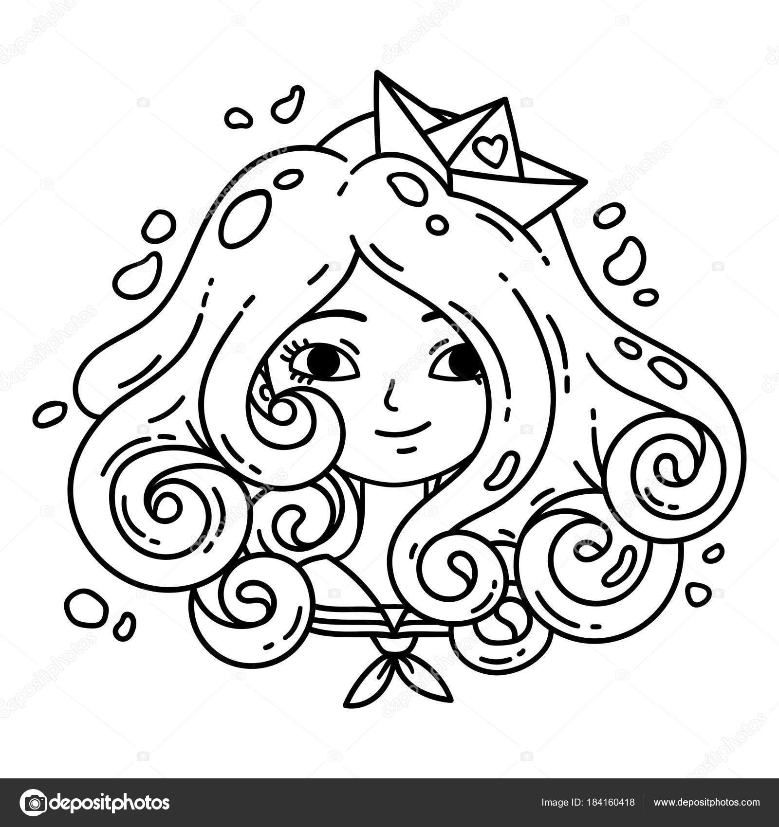 Chica Con Pelo Rizado Niña Mar Chica Con Cabello Azul — Archivo ...