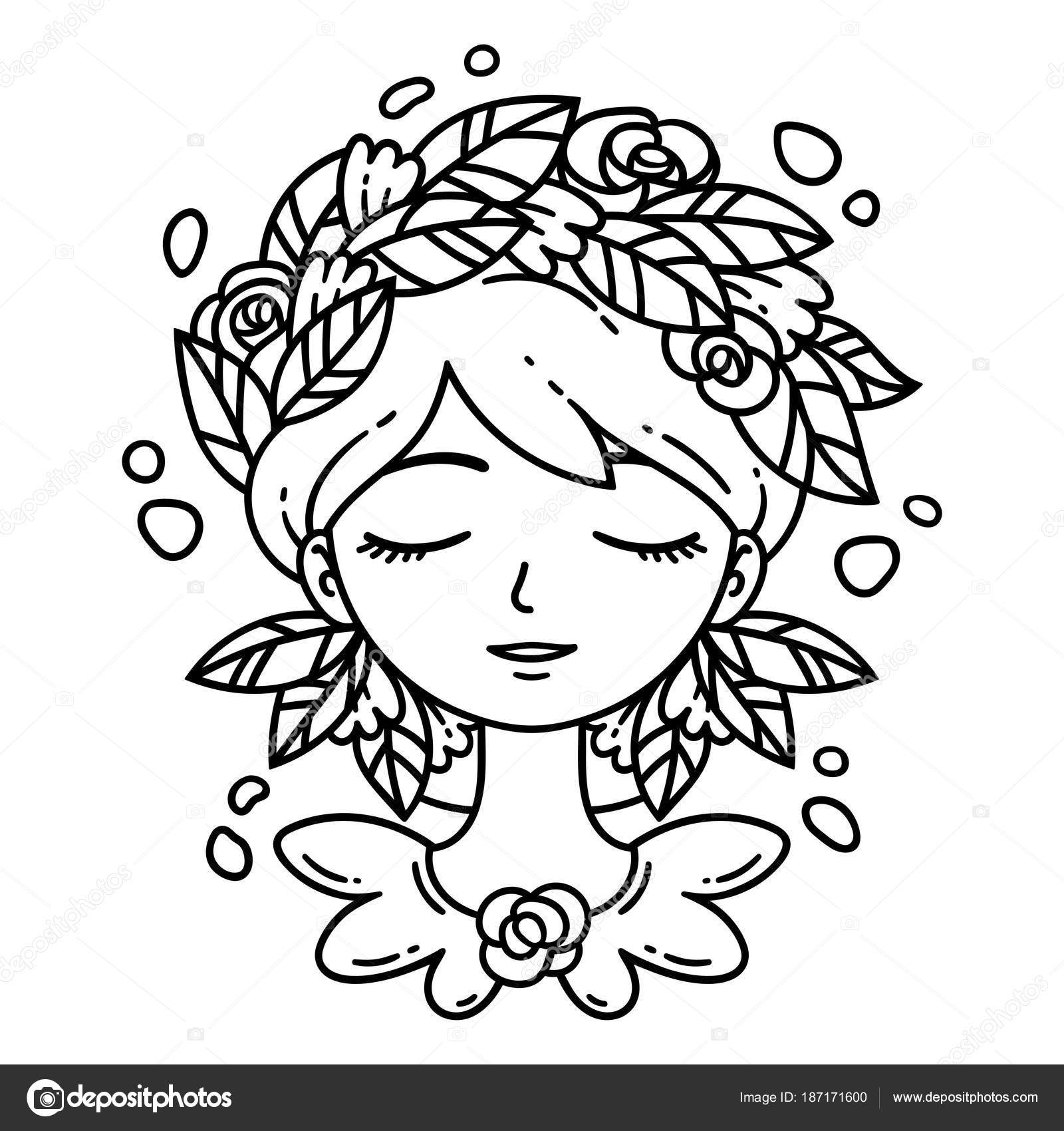 Girl With Flower In Hair Stock Vector C Danamayfay 187171600
