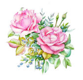 Photo Watercolor illustration of bouquet with two pink roses and buds, green leaves and blue berries