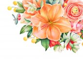 Fényképek Szép virág rajzolatú, akvarell kézzel rajzolt csokor, a narancs és a rózsaszín virágok, piros bogyós gyümölcsök és levelek. Mintanyomtatvány, liliom, rózsa, ranunculus és más virágok.