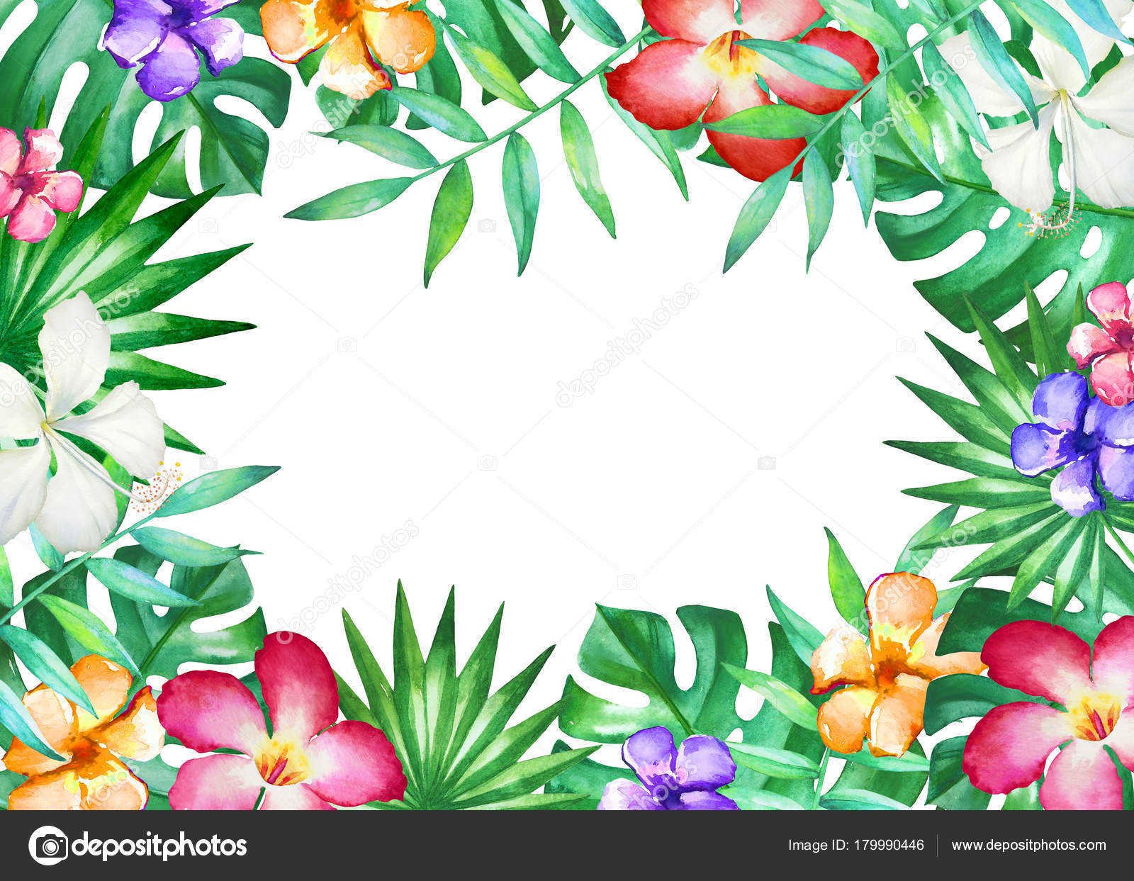Watercolor Frame Tropical Leaves Flowers Isolated White Background Illustration Design Stock Photo C Lyubovtolstova 179990446 Here you can explore hq tropical flowers transparent illustrations, icons and clipart with filter setting like size, type, color etc. https depositphotos com 179990446 stock photo watercolor frame tropical leaves flowers html