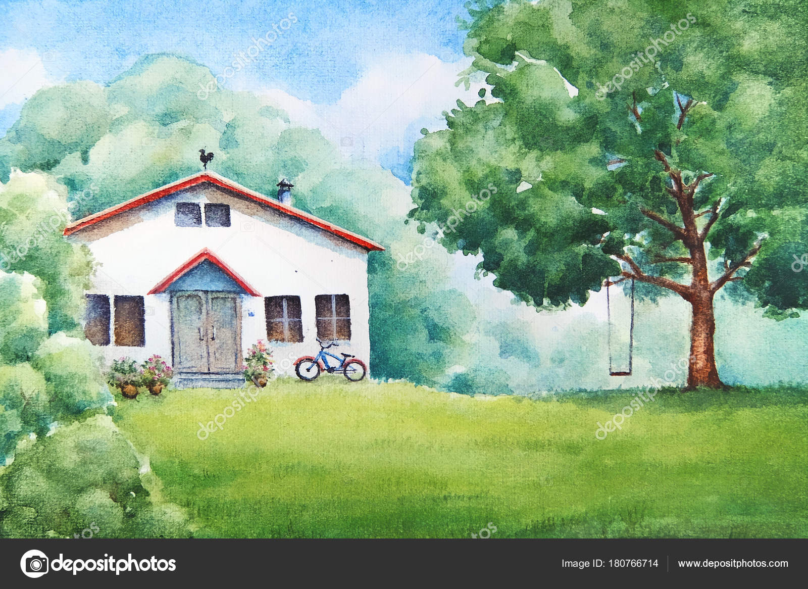 Watercolor Illustration Summer Countryside Landscape White House ... for Countryside Landscape With House  110ylc