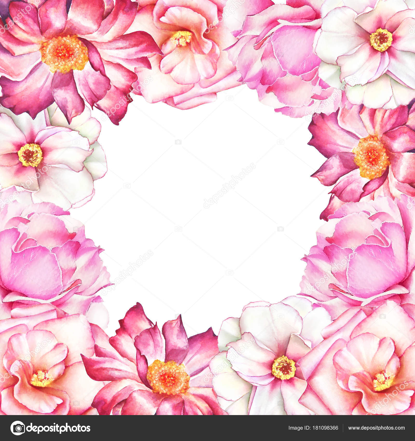 Watercolor Floral Frame White Pink Red Peony Flowers White