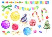 Insieme della mano disegnato elementi decorativi dellacquerello Capodanno. Palle, dolci, nastri, stelle e ghirlande isolate su priorità bassa bianca.