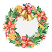 Photo Watercolor illustration of the Christmas wreath with golden bells isolated on white background.