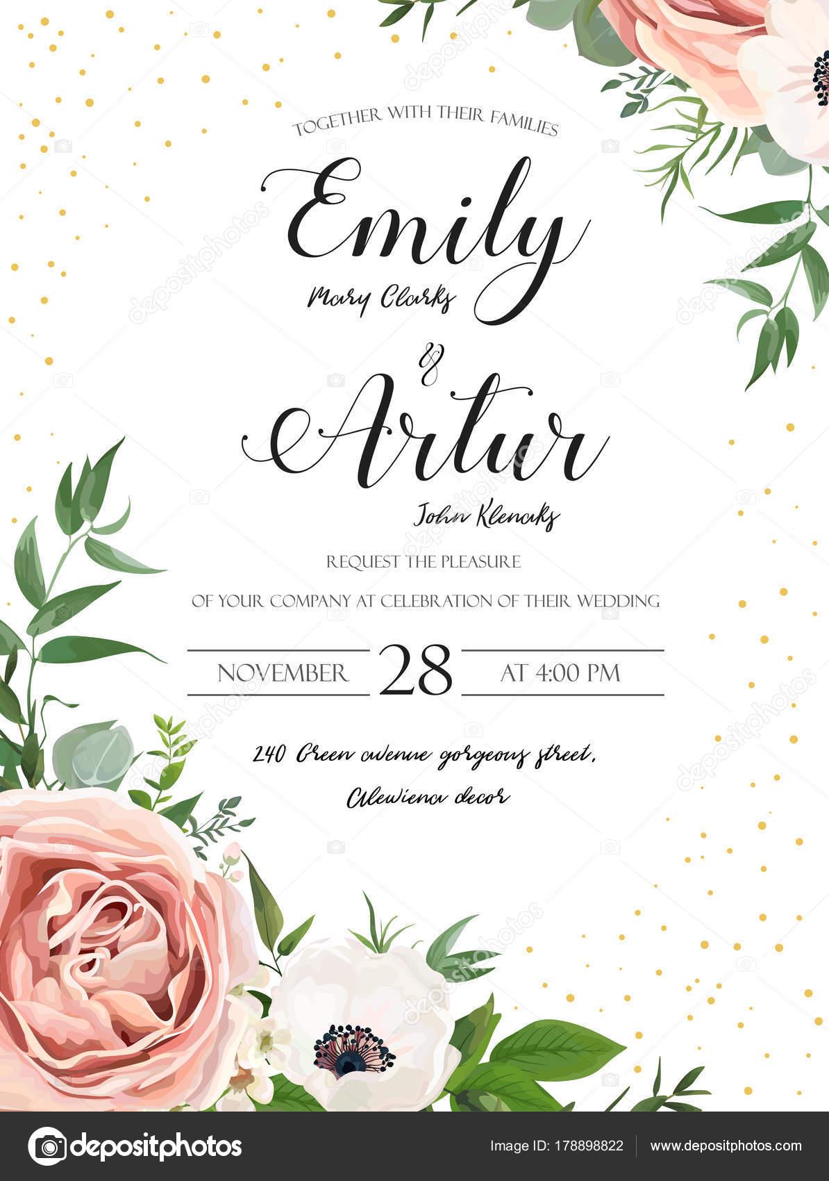 Wedding floral invite invitation card design: Rose pink lavender ...