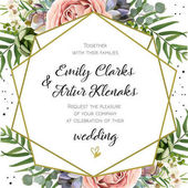 Fotografie Wedding Invitation, floral invite card Design: Peach lavender pink garden Rose, succulent, wax, eucalyptus, green palm leaves, forest fern greenery geometric golden frame print. Vector cute copy space