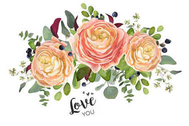 Vector floral card design: garden peach rose Ranunculus flowers Eucalyptus branch, green forest fern leaf blue berry bouquet. Wedding vector invite illustration in Watercolor style Romantic copy space