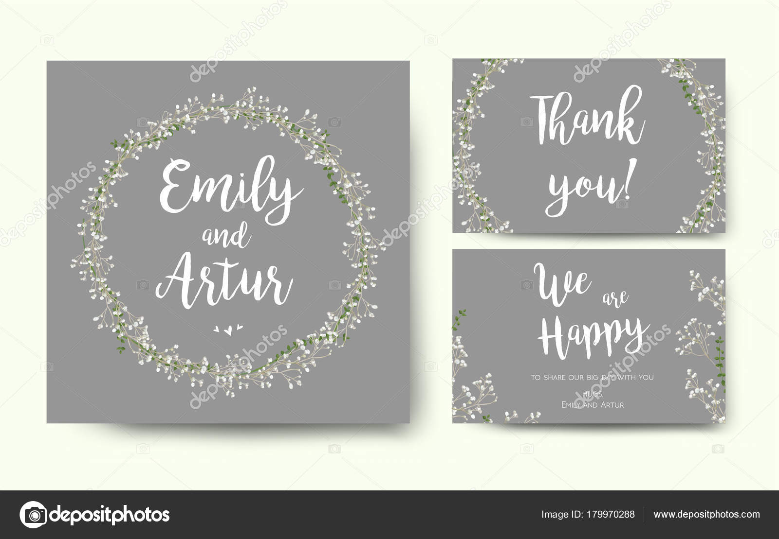 Wedding floral invitation invite flower card silver gray design with ...