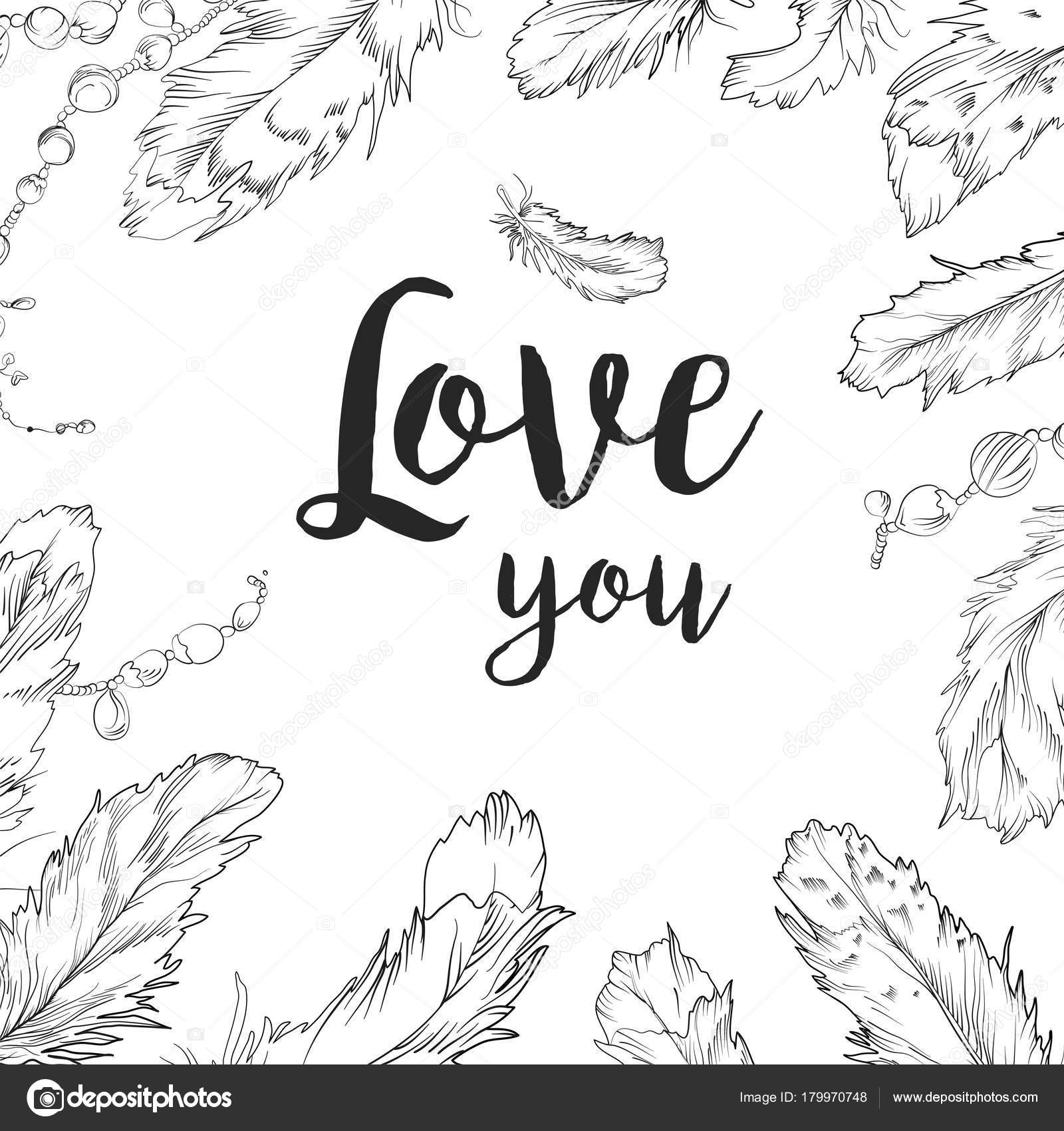 Line Art Card Design : Vector card design bird feather bead hand drawn frame