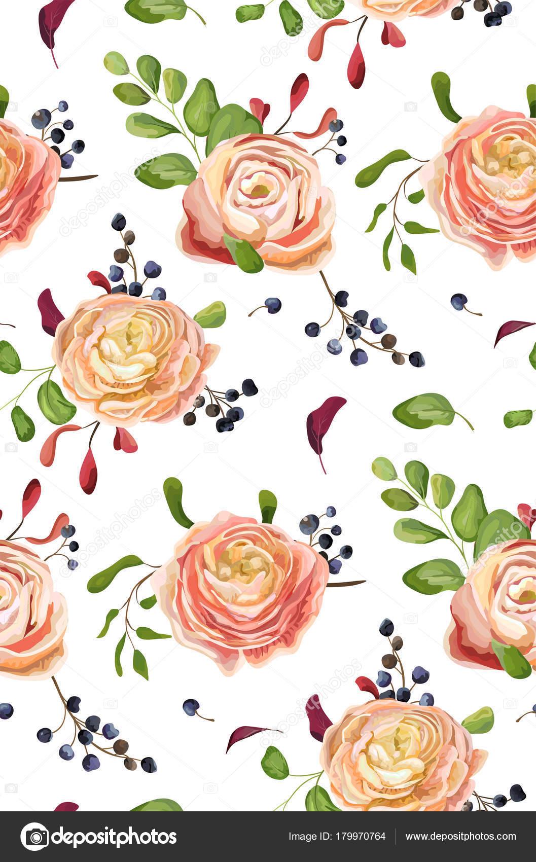 Vektor nahtlose Blumenmuster rosa rose Ranunkeln Blumen, grünen Farn ...
