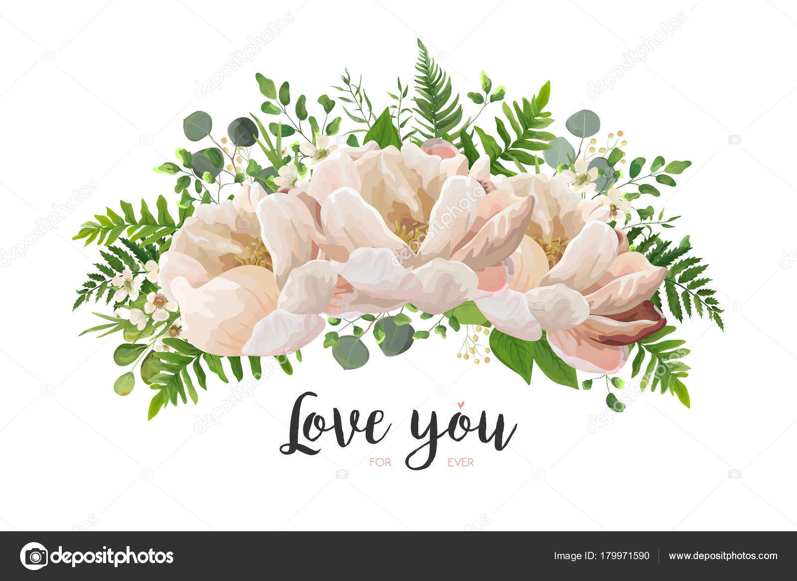 Flower Bouquet vector design element. Peach, pink rose peony, wax ...