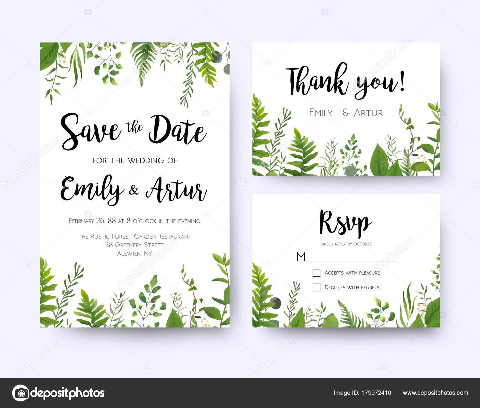 Invitation Mariage Invitation Menu Rsvp Merci Carte Vectorielle