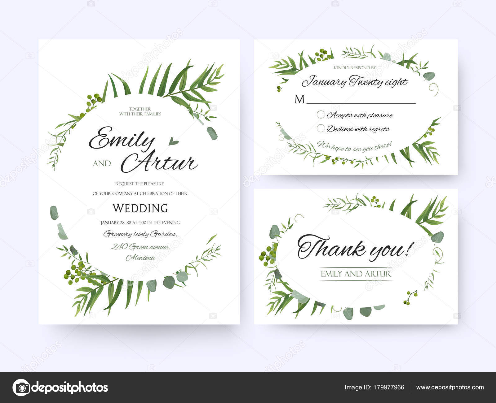 Wedding invite invitation rsvp thank you card vector floral