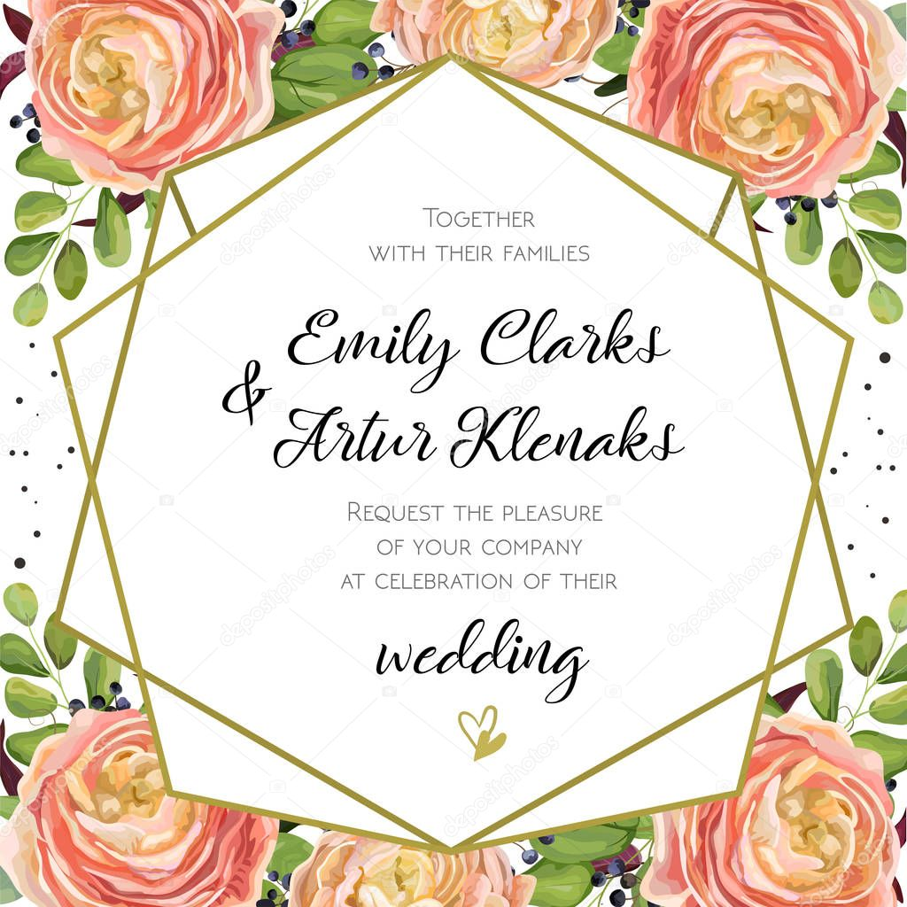 Wedding Invitation, floral invite card Design with pink ...