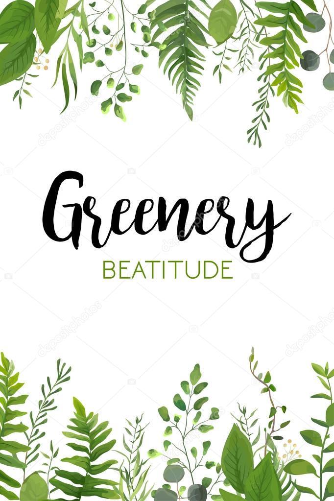 Vector floral greenery vertical card design: Forest fern ...